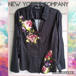 NY&Co Pin-stripe Fitted Floral Button-down Blouse